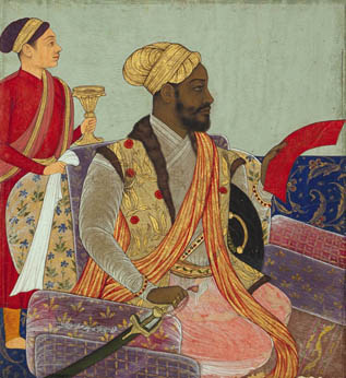 """Noble Ikhlas Khan In 1490, an African guard, Sidi Badr, seized power in Bengal and ruled for three years before being murdered. Five thousand of the 30,000 men in his army were Ethiopians. After Sidi Badr's assassination, high-level Africans were driven out and migrated to Gujarat and the Deccan. In the Deccan sultanate of Bijapur, Africans formerly enslaved—they were called the """"Abyssinian party""""—took control. The African regent Dilawar Khan exercised power from 1580 and was succeeded by Ikhlas Khan. The Abyssinian party dominated the Bijapur Sultanate and conquered new territories until the Mughal invasion in 1686. Courtesy of the San Diego Museum of Art"""