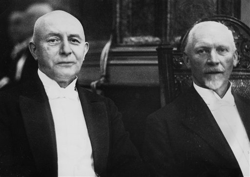 Fierce rivals on the battlefield, General Paul von Lettow Vorbeck (L) and General Jan Smuts (R) became great friends later in life