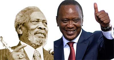 Kenya's current President Uhuru Kenyatta (left) is the son of the country's first President, Jomo.