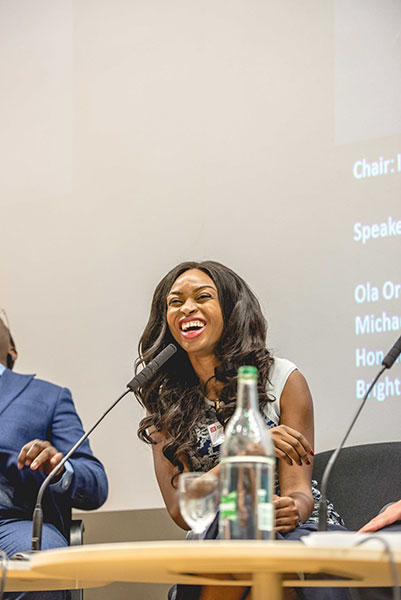 Dr Ola Orekunrin earned cheers from the audience as she used her £5 pair of shoes from Primark to illustrate how she was applying innovative governance in her role as Managing Director of Flying Doctors Nigeria by getting more out of a small budget.