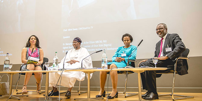 A lively panel composed of Dr Mamphela Ramphele, Ogbeni Rauf Aregbesola, Governor of Osun State in Nigeria, and Dr Nkosana Moyo, founder of the Mandela Institute for Development Studies gave their views of what they would consider innovative governance in Africa