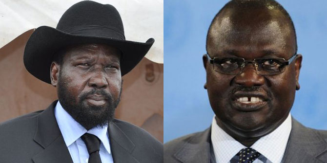 President Salva Kiir and former Vice President Riek Machar stand at opposite ends in the South Sudan peace process
