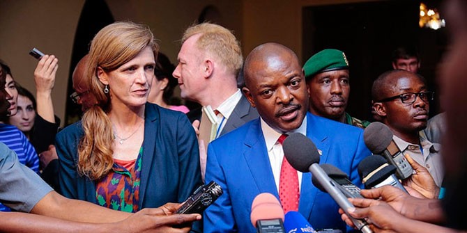 resident Pierre Nkurunziza talks to the press following his meeting with a UN Security Council delegation. Credit: MONUSCO/Papy AMANI