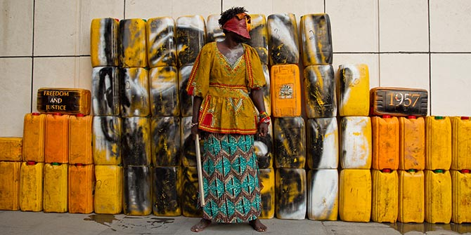 Serge Attukwei Clottey and GoLokal, My Mother's Wardrobe, performance at Gallery 1957, 6 March 2016, courtesy the artist and Gallery 1957 Photo Credit: Nii Odzenma