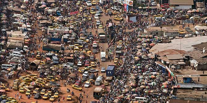 An aerial view of a busy Monrovia transport hub Photo Credit: Christopher Herwig/UN via Flickr (http://bit.ly/1lGd0ll)