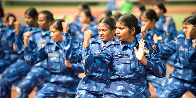 Members of the all female Indian Formed Police Unit of the United Nations Mission in Liberia (UNMIL) perform martial arts exercise prior to receiving medals of honour, in recognition for their service Photo Credit: UN Photo/Christopher Herwig