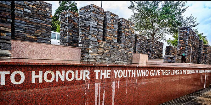 A memorial to the youth killed in the Soweto Uprising in 1976  Photo Credit: GL Craig via Flickr (http://bit.ly/2cSPjzj) CC BY-NC-ND 2.0