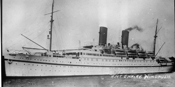 b.Empire Windrush brought one of the first large groups of post-war West Indian immigrants to the United Kingdom Photo Credit: Creative Commons, Wikimedia: Royal Navy official photographer