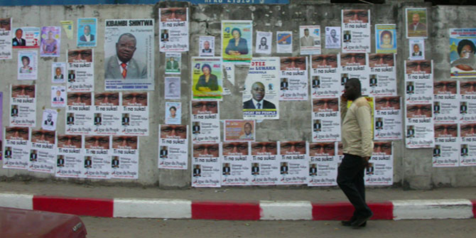 Campaign posters from the 2006 elections in DRC which are widely regarded as fair and representative Photo Credit: Tomas via Flickr (http://bit.ly/2gDoi2d) CC BY-NC 2.0