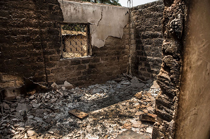 Houses damaged and burnt after the fights between Seleka and Anti-Balaka in Bouca (Ouham), Central African Republic
