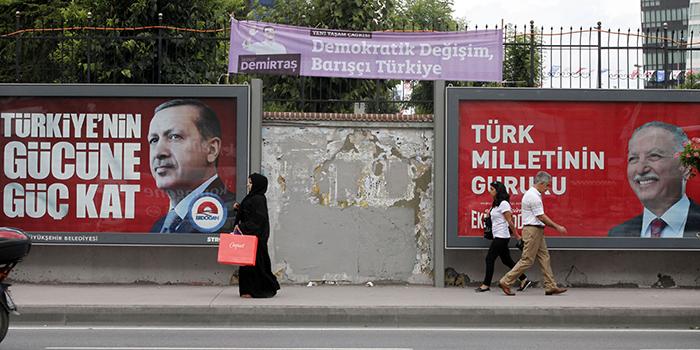 Billboards of Turkish Presidential candidates Recep Tayyip Erdoğan (L) and Ekmeleddin İhsanoğlu (R), Istanbul, 2014.