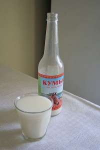 Kumis bottle with glass