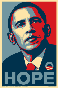 "Shepard Fairey's ""Hope"" poster of Barack Obama"
