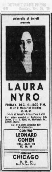 Laura Nyro Concert Announcement