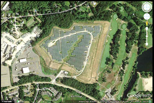 The town of Scituate decided to turn an old landfill into a solar photovoltaic installation - a great example of solar siting done right. Photo credit: US EPA courtesy of Google Earth