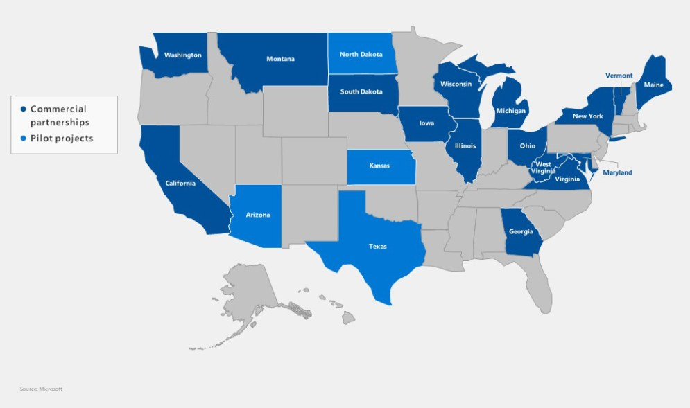U.S. map showing states with Airband Initiative