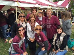 Alumna Michelle Nahon Moulder and several of her sorority sisters gather for a Homecoming picture.