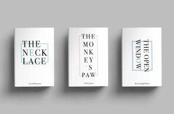 "Three, symmetrical rectangles designer with text reading, ""The Necklace,"" ""The Money's Paw,"" and ""The Open Window"""