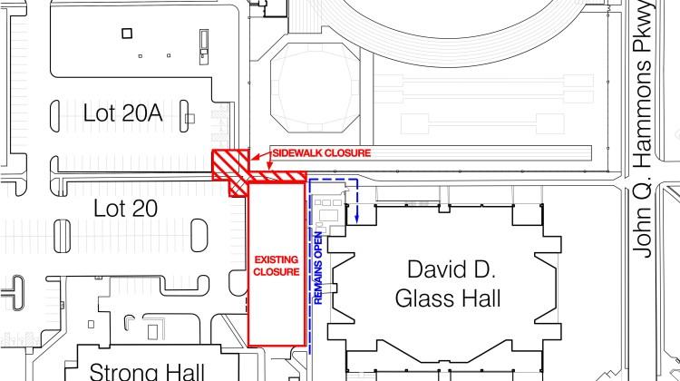 Sidewalk Closure Northwest of Glass Hall