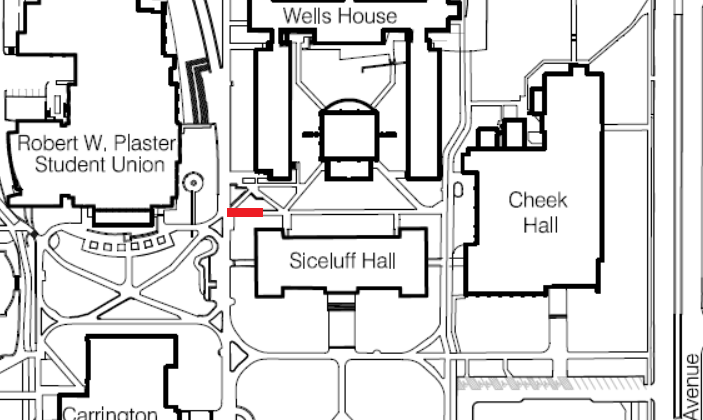 Partial Sidewalk Closure Between Siceluff Hall and Wells House