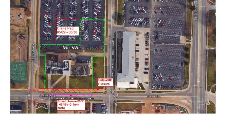 Closure Notification – Lot 9 and Woods South Walkway/Bike Path and North Lane of Bear Blvd