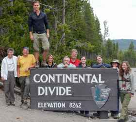 Students at the Continental Divide marker