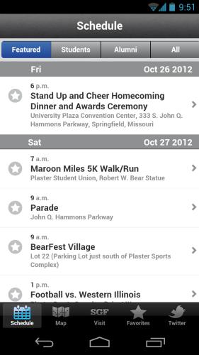 Homecoming 2012 App Schedule