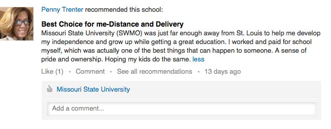 LinkedIn recommendation by Penny