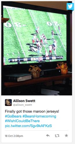 Alumna watching Bears football on TV