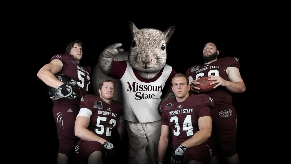 Scrapper Squirrel with Missouri State football players