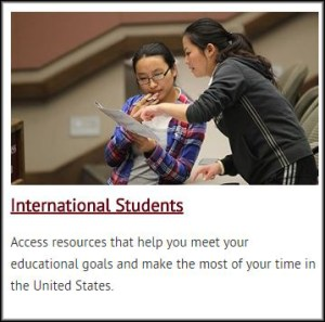 The section of the administrative studies website that is dedicated to international students