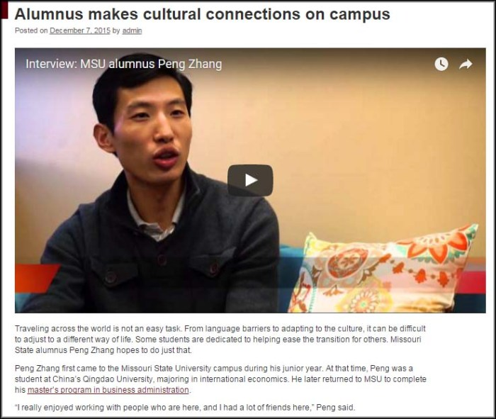 Story about Peng Zhang's work with Missouri State's China Programs