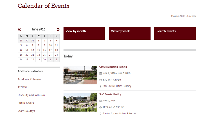 Missouri State University Calendar Website
