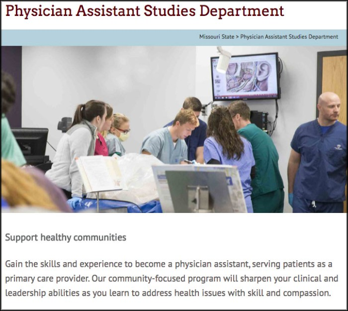 Homepage of the physician assistant studies website