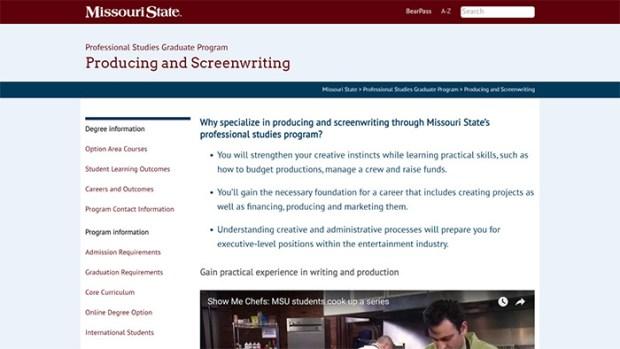 Master of Professional Studies website