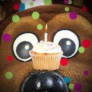 Boomer with cupcake