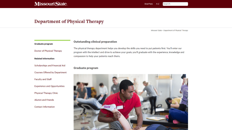 Redesigned physical therapy website: Identity and student success