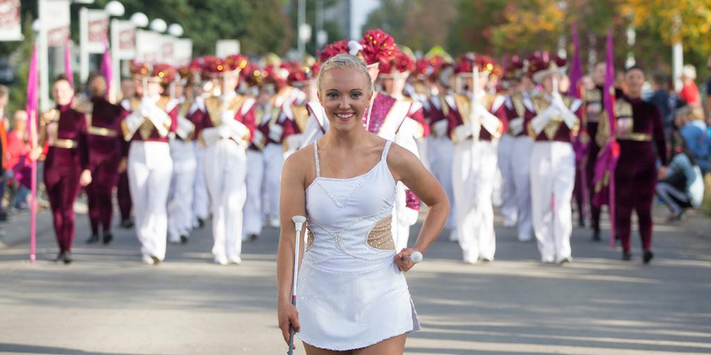 baton twirler in parade