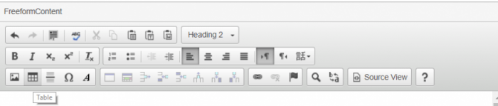 table icon in FreeForm content window