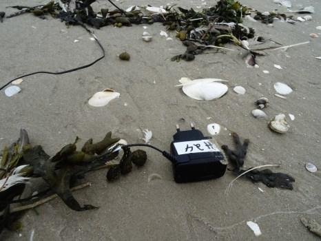 Ein Handykabel am Strand