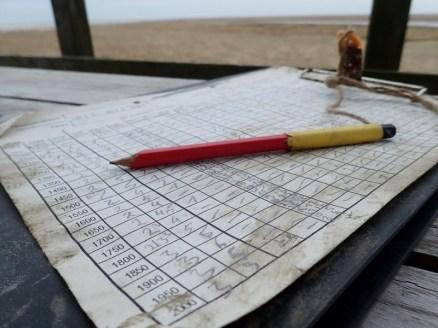 Der Erfassungsbogen für die Wattkartierung nach getaner Arbeit (Foto: Jonas Kotlarz)