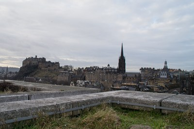 View of Edinburgh from rooftop terrace at National Museum.