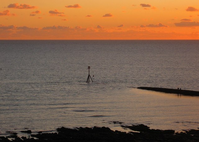 View of the sunset at Portobello Beach.