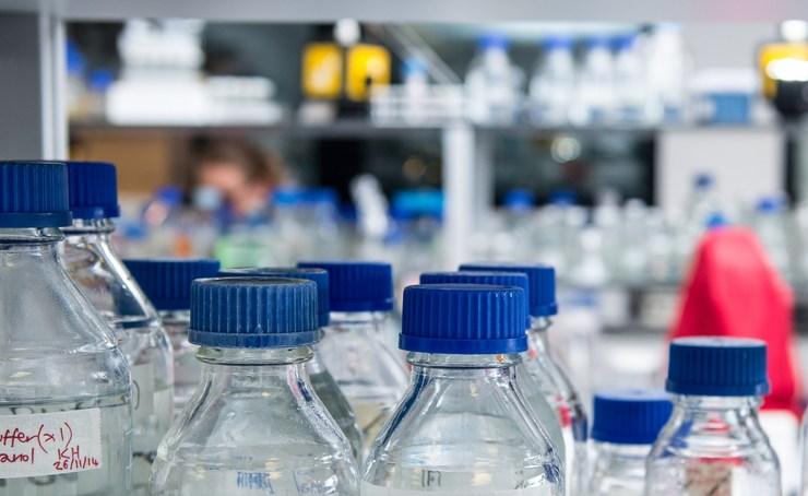 Shelves of laboratory equipment