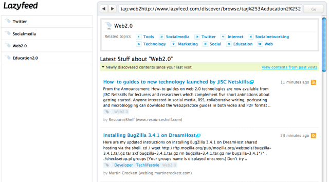 Lazyfeed, my feeds, suggested readings