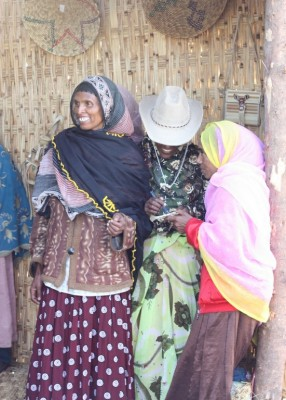 The beautiful ladies of the Harenna forest showing off their community goods to start marketing to visitors