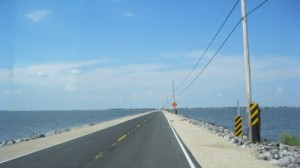 Newly reconstructed island road, which connects Jean Charles Island to Pointe-aux-Chenes. The water on each side used to be land.