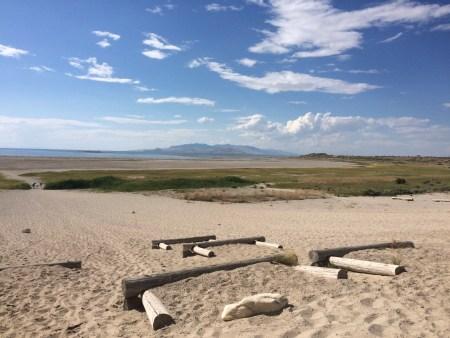 Antelope Island beach leading to the Great Salt Lake