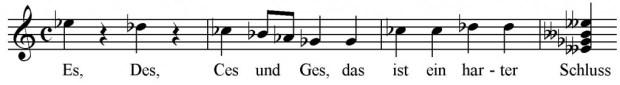 Abbildung 1: Abgewandelter Beginn des Volksliedes Es, es, es und es