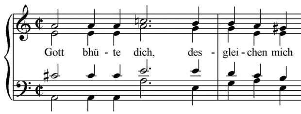 Abbildung 3: Leonhard Lechner, Gott bhüte dich, Beginn. Aus: Neue lustige teutsche Lieder nach Art der welschen Canzonen